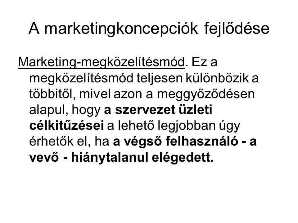 A marketingkoncepciók fejlődése Marketing-megközelítésmód. Ez a megközelítésmód teljesen különbözik a többitől, mivel azon a meggyőződésen alapul, hog