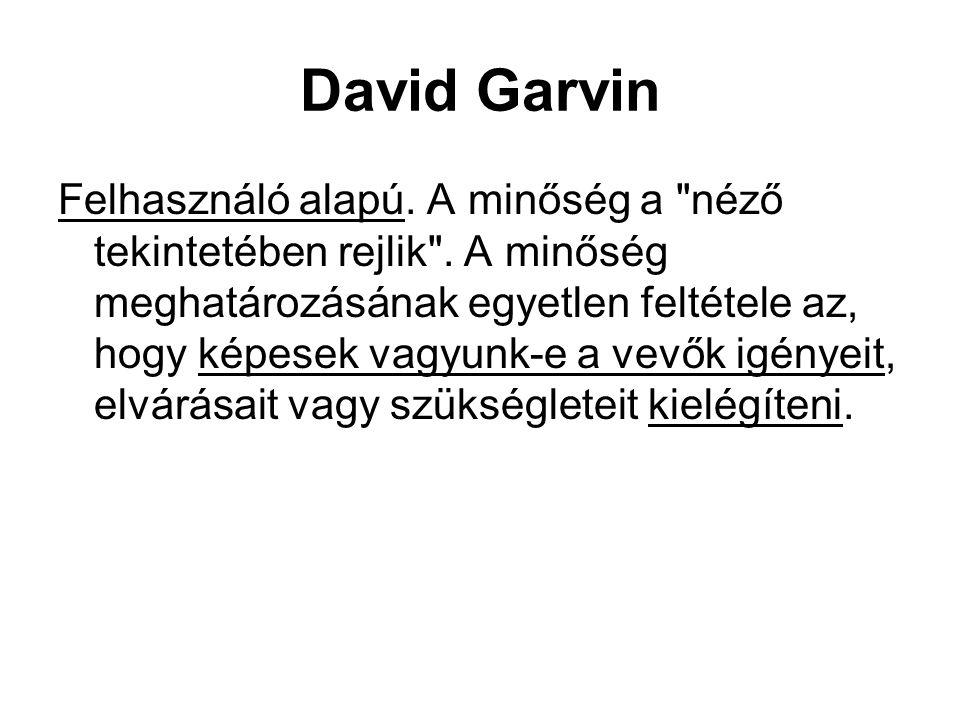 David Garvin Felhasználó alapú. A minőség a