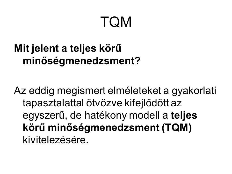 TQM Mit jelent a teljes körű minőségmenedzsment? Az eddig megismert elméleteket a gyakorlati tapasztalattal ötvözve kifejlődött az egyszerű, de hatéko