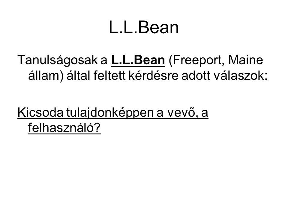 L.L.Bean Tanulságosak a L.L.Bean (Freeport, Maine állam) által feltett kérdésre adott válaszok: Kicsoda tulajdonképpen a vevő, a felhasználó?