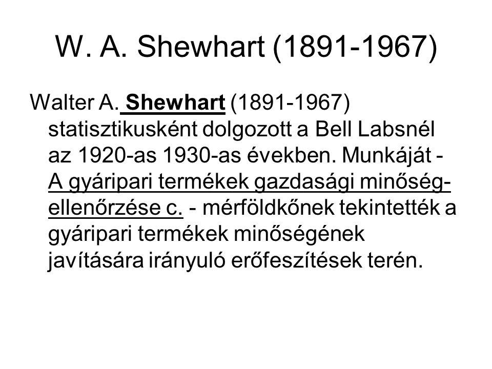 W. A. Shewhart (1891-1967) Walter A. Shewhart (1891-1967) statisztikusként dolgozott a Bell Labsnél az 1920-as 1930-as években. Munkáját - A gyáripari