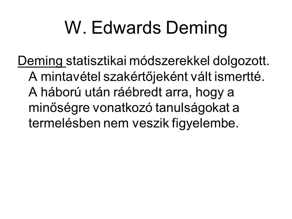 W. Edwards Deming Deming statisztikai módszerekkel dolgozott. A mintavétel szakértőjeként vált ismertté. A háború után ráébredt arra, hogy a minőségre