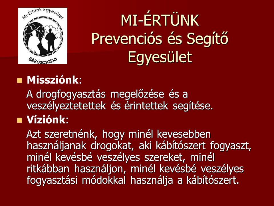MI-ÉRTÜNK Prevenciós és Segítő Egyesület : Missziónk: A drogfogyasztás megelőzése és a veszélyeztetettek és érintettek segítése. A drogfogyasztás mege