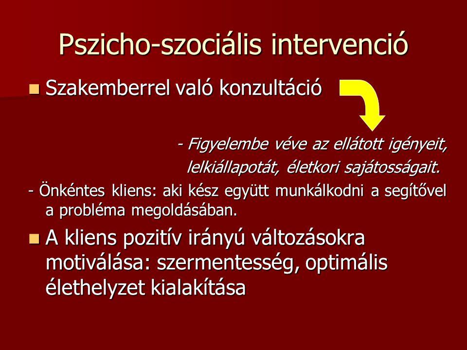 Pszicho-szociális intervenció Szakemberrel való konzultáció Szakemberrel való konzultáció - Figyelembe véve az ellátott igényeit, - Figyelembe véve az