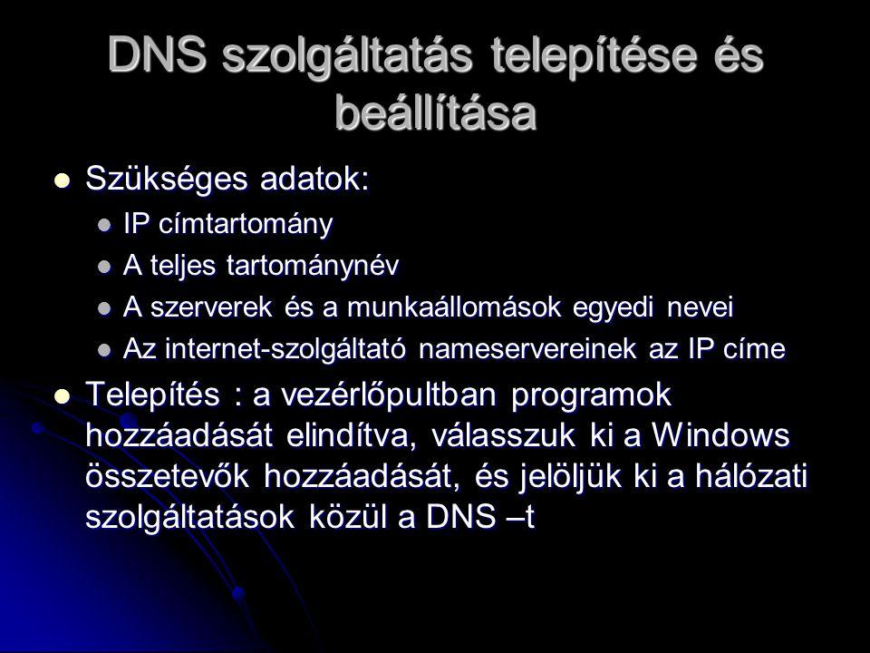 DNS szolgáltatás telepítése és beállítása Szükséges adatok: Szükséges adatok: IP címtartomány IP címtartomány A teljes tartománynév A teljes tartomány