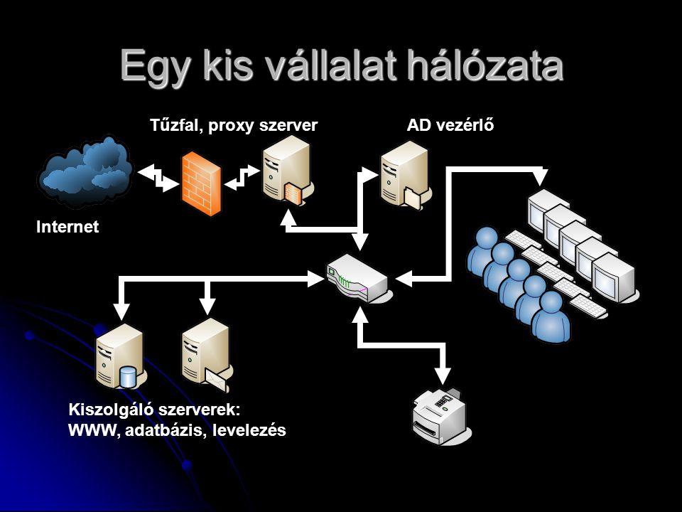 Egy kis vállalat hálózata Internet Kiszolgáló szerverek: WWW, adatbázis, levelezés AD vezérlőTűzfal, proxy szerver