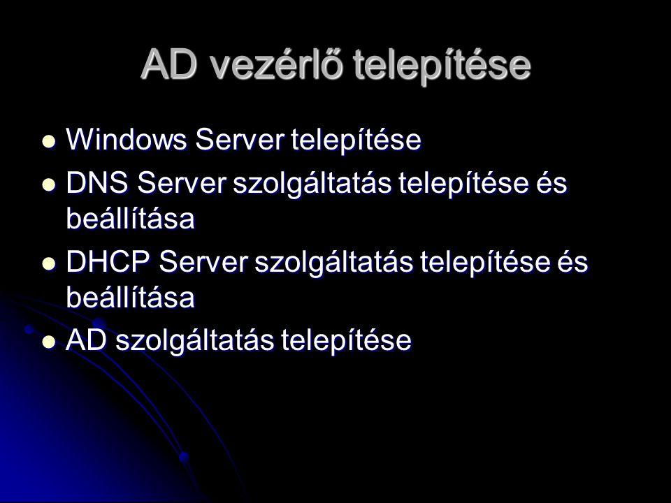 Windows Server telepítése Minimálisan szükséges hardver : Minimálisan szükséges hardver : 256 MB RAM 256 MB RAM 4GB HDD 4GB HDD Hálózati kártya Hálózati kártya VGA kártya, CD-ROM VGA kártya, CD-ROM Ajánlott hardver Ajánlott hardver 512 MB RAM 512 MB RAM 20 GB HDD 20 GB HDD 100 MBites vagy gyorsabb hálózati kártya 100 MBites vagy gyorsabb hálózati kártya VGA vezérlő, DVD író VGA vezérlő, DVD író