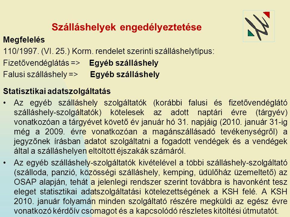 Szálláshelyek engedélyeztetése Megfelelés 110/1997.