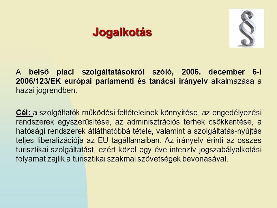 Jogalkotás A belső piaci szolgáltatásokról szóló, 2006. december 6-i 2006/123/EK európai parlamenti és tanácsi irányelv alkalmazása a hazai jogrendben