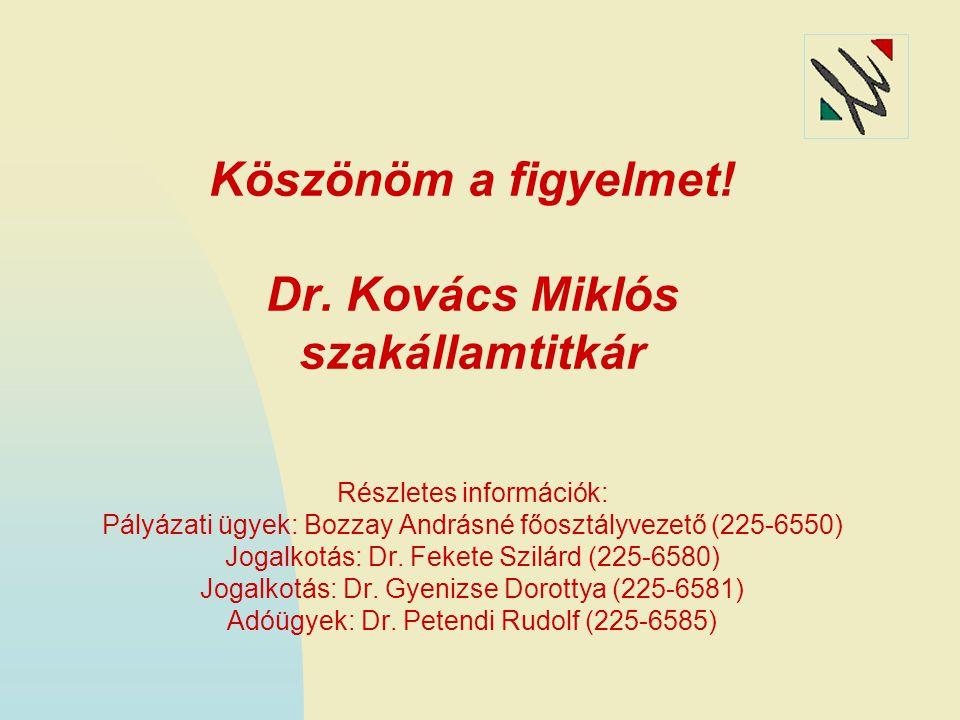Köszönöm a figyelmet! Dr. Kovács Miklós szakállamtitkár Részletes információk: Pályázati ügyek: Bozzay Andrásné főosztályvezető (225-6550) Jogalkotás: