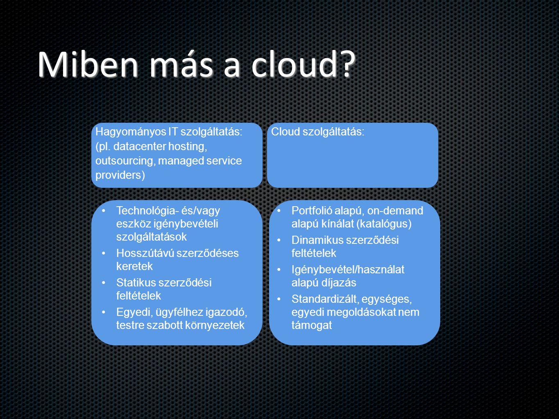 Miben más a cloud? Hagyományos IT szolgáltatás: (pl. datacenter hosting, outsourcing, managed service providers) Cloud szolgáltatás: Technológia- és/v