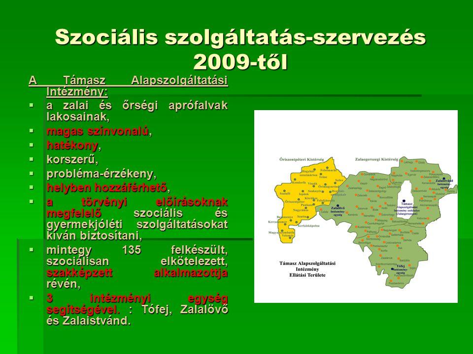 Szociális szolgáltatás-szervezés 2009-től A Támasz Alapszolgáltatási Intézmény:  a zalai és őrségi aprófalvak lakosainak,  magas színvonalú,  haték