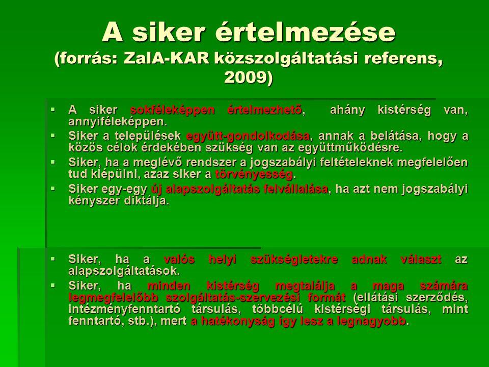 A siker értelmezése (forrás: ZalA-KAR közszolgáltatási referens, 2009)  A siker sokféleképpen értelmezhető, ahány kistérség van, annyiféleképpen.  S