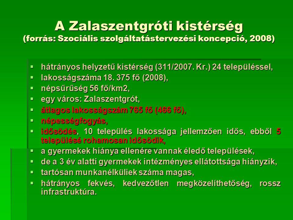 A Zalaszentgróti kistérség (forrás: Szociális szolgáltatástervezési koncepció, 2008)  hátrányos helyzetű kistérség (311/2007. Kr.) 24 településsel, 