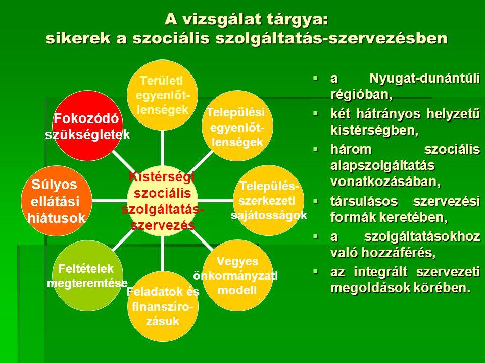 A vizsgálat tárgya: sikerek a szociális szolgáltatás-szervezésben  a Nyugat-dunántúli régióban,  két hátrányos helyzetű kistérségben,  három szociá