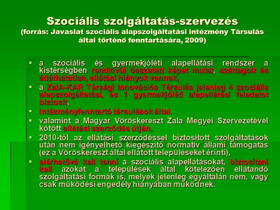 Szociális szolgáltatás-szervezés (forrás: Javaslat szociális alapszolgáltatási intézmény Társulás által történő fenntartására, 2009)  a szociális és