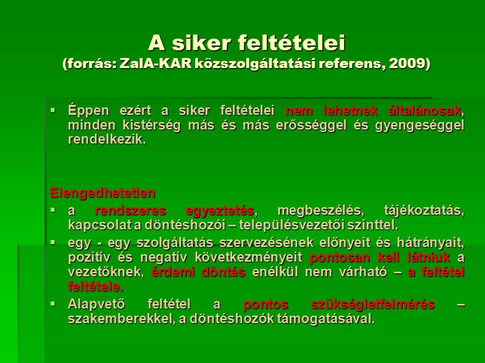A siker feltételei (forrás: ZalA-KAR közszolgáltatási referens, 2009)  Éppen ezért a siker feltételei nem lehetnek általánosak, minden kistérség más