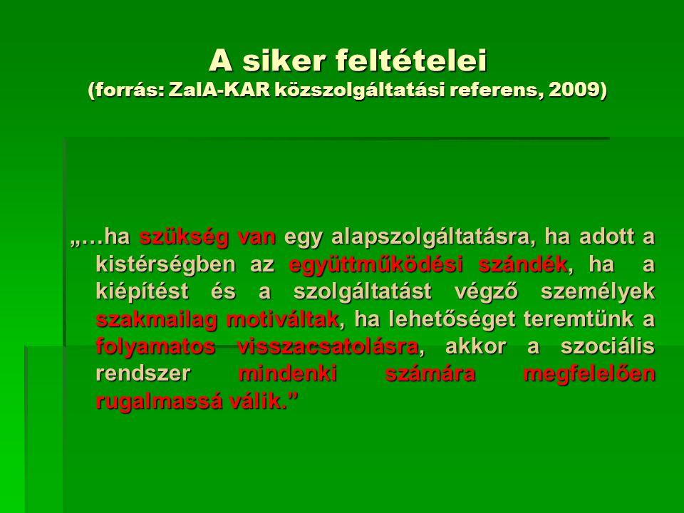 """A siker feltételei (forrás: ZalA-KAR közszolgáltatási referens, 2009) """"…ha szükség van egy alapszolgáltatásra, ha adott a kistérségben az együttműködé"""