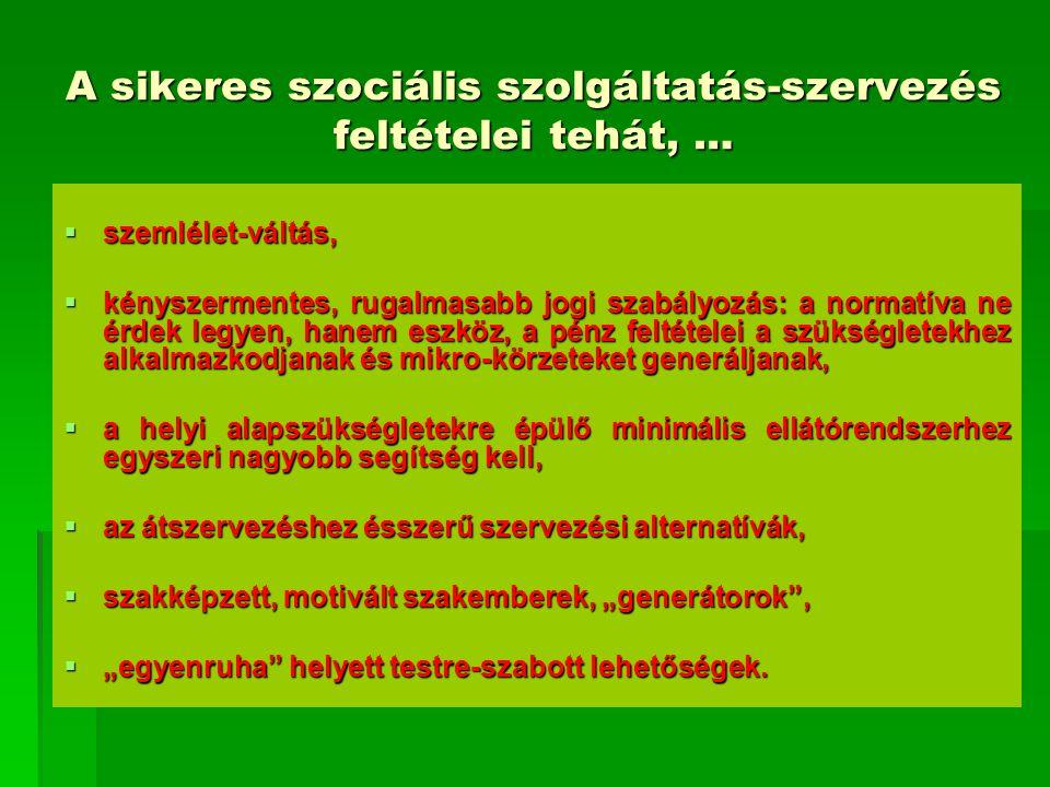 A sikeres szociális szolgáltatás-szervezés feltételei tehát, …  szemlélet-váltás,  kényszermentes, rugalmasabb jogi szabályozás: a normatíva ne érde