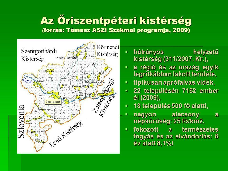 Az Őriszentpéteri kistérség ( forrás: Támasz ASZI Szakmai programja, 2009)  Az Őriszentpéteri Társulás területén az ellátási kötelezettségnek teljes körűen 7 település (31,8 %) tett eleget.