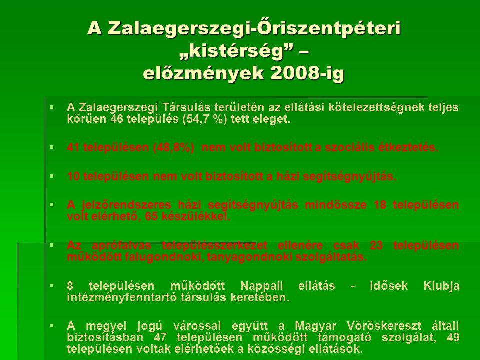 A településeken elérhető szolgáltatások (2009)  Étkeztetés: 20 településen 200 fő, nincs Kallósdon, Sényén, Dötkön és Pakodon (!),  Házi segítségnyújtás: 24 településen, 112 fő,  Jelzőrendszeres házi segítségnyújtás: egyetlen településen sem, tervben volt 2007-ben ellátási szerződés keretében (Vöröskereszt), de nem kapott működési engedélyt,  Falu- és tanyagondnoki szolgáltatás: 13 településen,  Nappali ellátás: 5 településen, 95 fő  Közösségi ellátás, támogató szolgálat: 24 településen.
