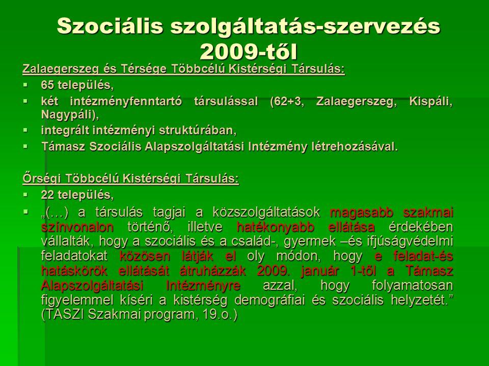 Szociális szolgáltatás-szervezés (forrás: Javaslat szociális alapszolgáltatási intézmény Társulás által történő fenntartására, 2009)  a szociális és gyermekjóléti alapellátási rendszer a kistérségben rendkívül összetett képet mutat, széttagolt és átláthatatlan, ellátási hiányok vannak,  a ZalA-KAR Térségi Innovációs Társulás jelenleg 4 szociális alapszolgáltatási, és 1 gyermekjóléti alapellátási feladatot biztosít,  intézményfenntartó társulások által,  valamint a Magyar Vöröskereszt Zala Megyei Szervezetével kötött ellátási szerződés útján,  2010-től az ellátási szerződéssel biztosított szolgáltatások után nem igényelhető kiegészítő normatív állami támogatás (ez a Vöröskereszt által ellátott településeket érinti),  elérhetővé kell tenni a szociális alapellátásokat, biztosítani kell azokat a települések által kötelezően ellátandó szolgáltatási formák is, melyek jelenleg egyáltalán nem, vagy csak működési engedély hiányában működnek.
