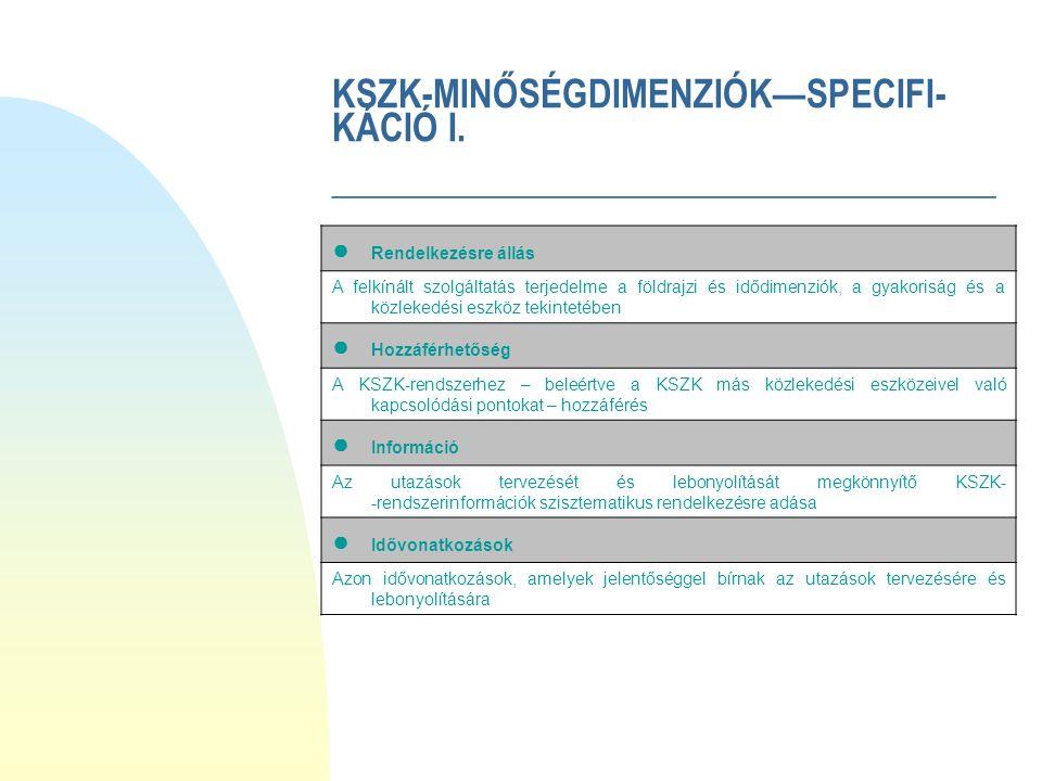 KSZK-MINŐSÉGDIMENZIÓK—SPECIFI- KÁCIÓ I.