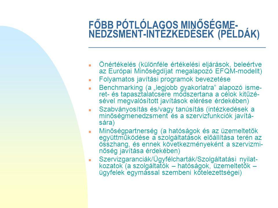 """FŐBB PÓTLÓLAGOS MINŐSÉGME- NEDZSMENT-INTÉZKEDÉSEK (PÉLDÁK) ____________________________________ n Önértékelés (különféle értékelési eljárások, beleértve az Európai Minőségdíjat megalapozó EFQM-modellt) n Folyamatos javítási programok bevezetése n Benchmarking (a """"legjobb gyakorlatra alapozó isme- ret- és tapasztalatcsere módszertana a célok kitűzé- sével megvalósított javítások elérése érdekében) n Szabványosítás és/vagy tanúsítás (intézkedések a minőségmenedzsment és a szervizfunkciók javítá- sára) n Minőségpartnerség (a hatóságok és az üzemeltetők együttműködése a szolgáltatások előállítása terén az összhang, és ennek következményeként a szervizmi- nőség javítása érdekében) n Szervizgaranciák/Ügyfélcharták/Szolgáltatási nyilat- kozatok (a szolgáltatók – hatóságok, üzemeltetők – ügyfelek egymással szembeni kötelezettségei)"""