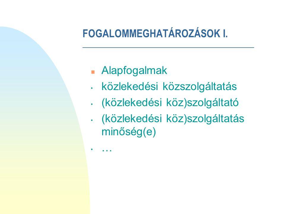 FOGALOMMEGHATÁROZÁSOK II.