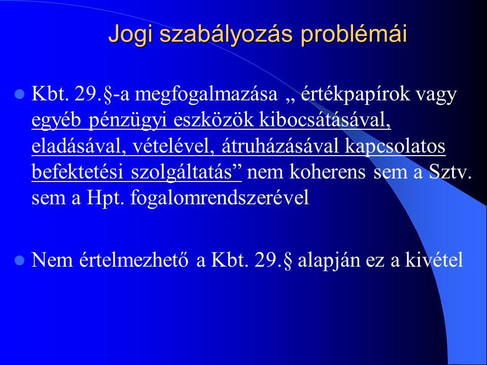 """Jogi szabályozás problémái Kbt. 29.§-a megfogalmazása """" értékpapírok vagy egyéb pénzügyi eszközök kibocsátásával, eladásával, vételével, átruházásával"""