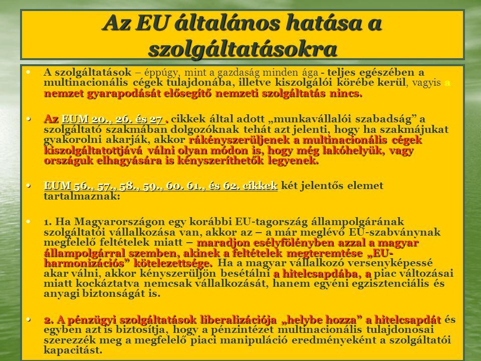Az EU általános hatása a szolgáltatásokra nemzet gyarapodását elősegítő nemzeti szolgáltatás nincs. A szolgáltatások – éppúgy, mint a gazdaság minden