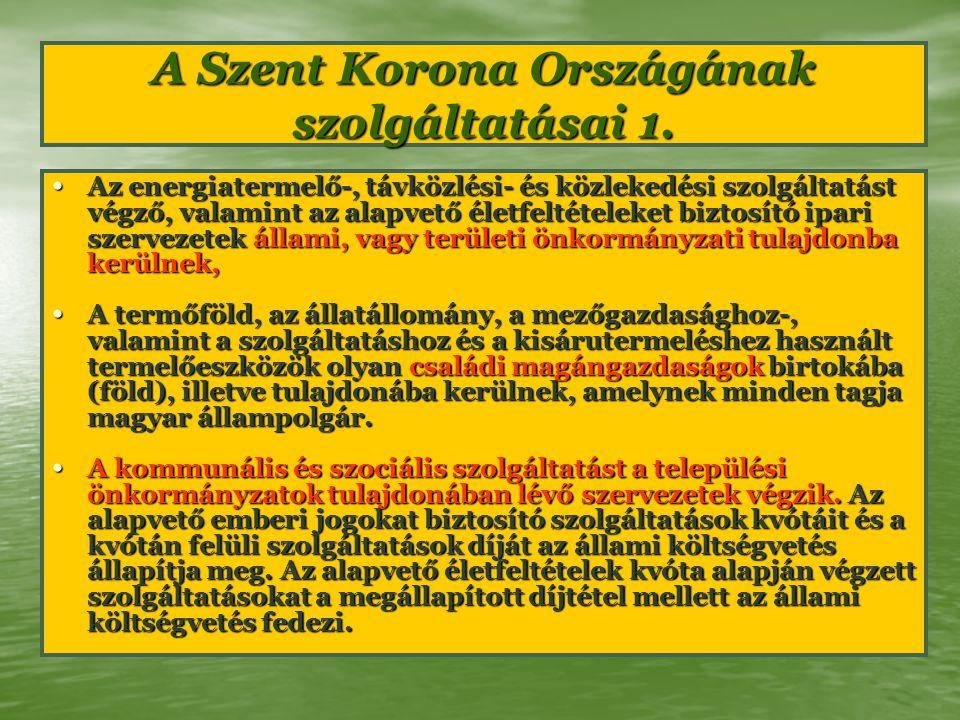 A Szent Korona Országának szolgáltatásai 1. Az energiatermelő-, távközlési- és közlekedési szolgáltatást végző, valamint az alapvető életfeltételeket