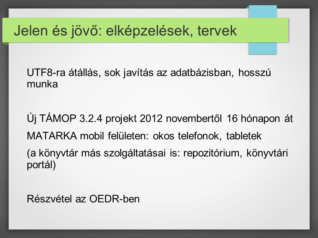 Jelen és jövő: elképzelések, tervek UTF8-ra átállás, sok javítás az adatbázisban, hosszú munka Új TÁMOP 3.2.4 projekt 2012 novembertől 16 hónapon át MATARKA mobil felületen: okos telefonok, tabletek (a könyvtár más szolgáltatásai is: repozitórium, könyvtári portál) Részvétel az OEDR-ben