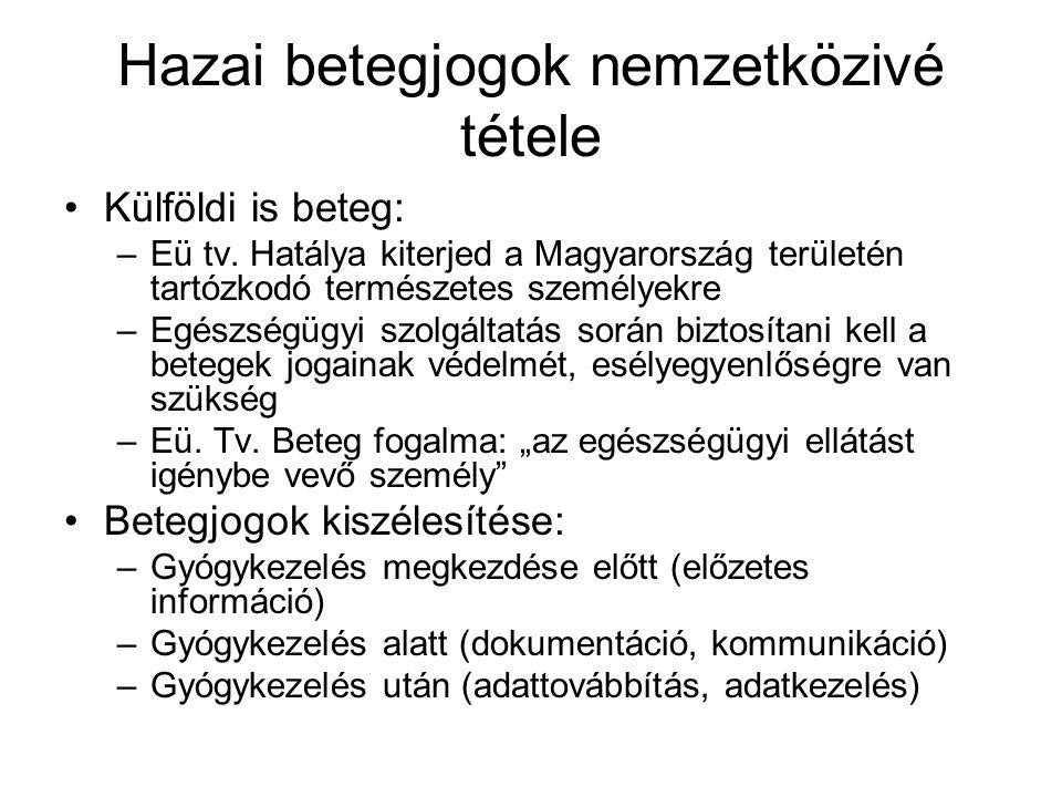 Hazai betegjogok nemzetközivé tétele Külföldi is beteg: –Eü tv.