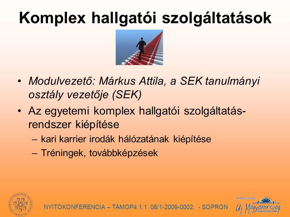 Komplex hallgatói szolgáltatások Modulvezető: Márkus Attila, a SEK tanulmányi osztály vezetője (SEK) Az egyetemi komplex hallgatói szolgáltatás- rendszer kiépítése –kari karrier irodák hálózatának kiépítése –Tréningek, továbbképzések NYITÓKONFERENCIA – TÁMOP4.1.1.