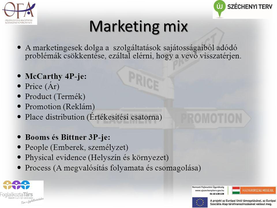 Marketing mix A marketingesek dolga a szolgáltatások sajátosságaiból adódó problémák csökkentése, ezáltal elérni, hogy a vevő visszatérjen. McCarthy 4