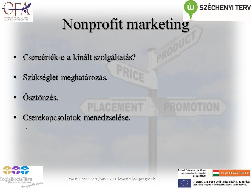 Nonprofit marketing Csereérték-e a kínált szolgáltatás? Csereérték-e a kínált szolgáltatás? Szükséglet meghatározás. Szükséglet meghatározás. Ösztönzé