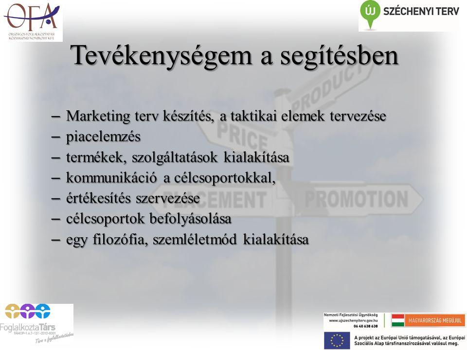 Tevékenységem a segítésben – Marketing terv készítés, a taktikai elemek tervezése – piacelemzés – termékek, szolgáltatások kialakítása – kommunikáció