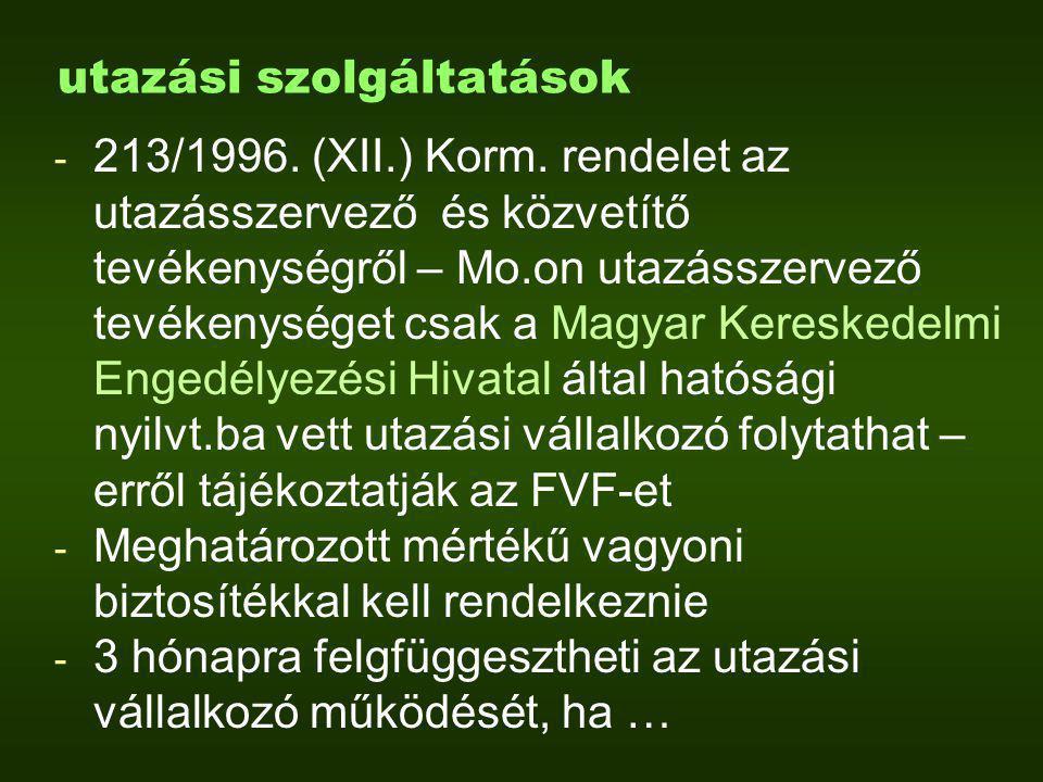 utazási szolgáltatások - 213/1996. (XII.) Korm.