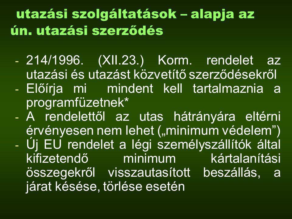 utazási szolgáltatások – alapja az ún. utazási szerződés - 214/1996.