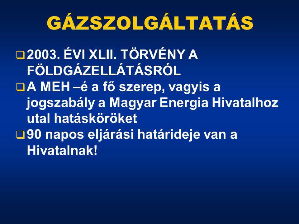 GÁZSZOLGÁLTATÁS  2003. ÉVI XLII.