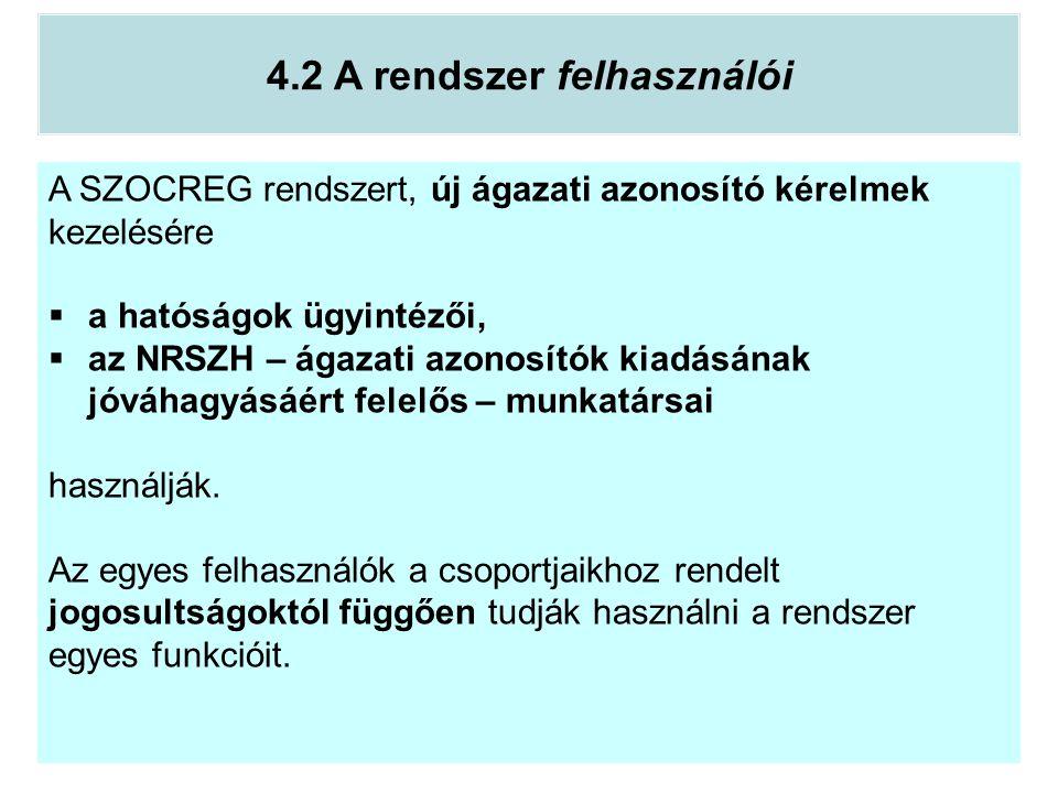 A SZOCREG rendszert, új ágazati azonosító kérelmek kezelésére  a hatóságok ügyintézői,  az NRSZH – ágazati azonosítók kiadásának jóváhagyásáért fele
