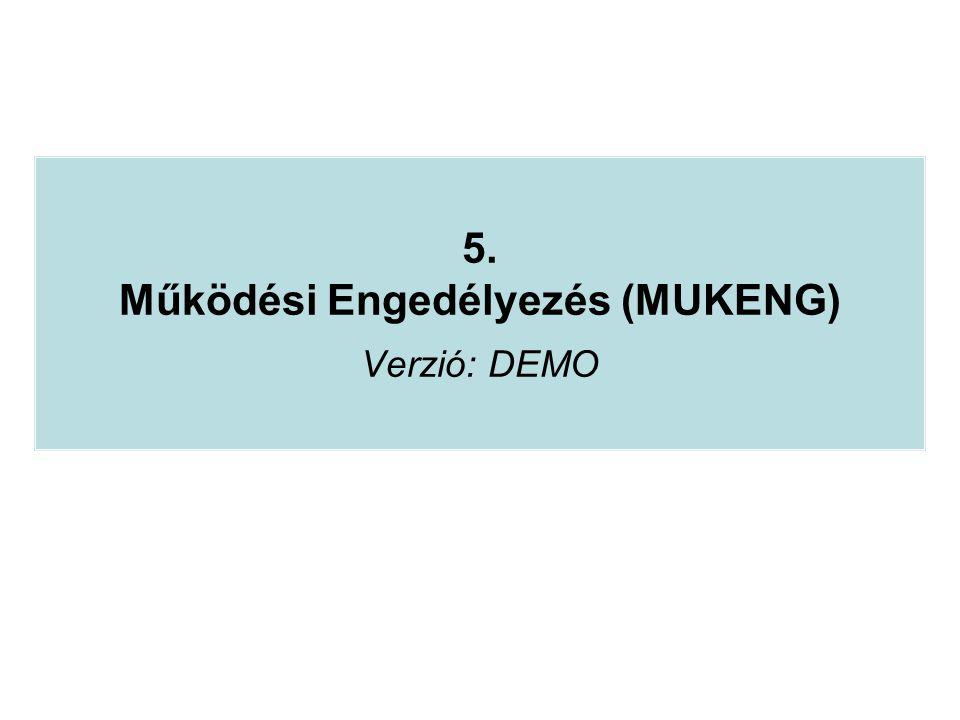 5. Működési Engedélyezés (MUKENG) Verzió: DEMO