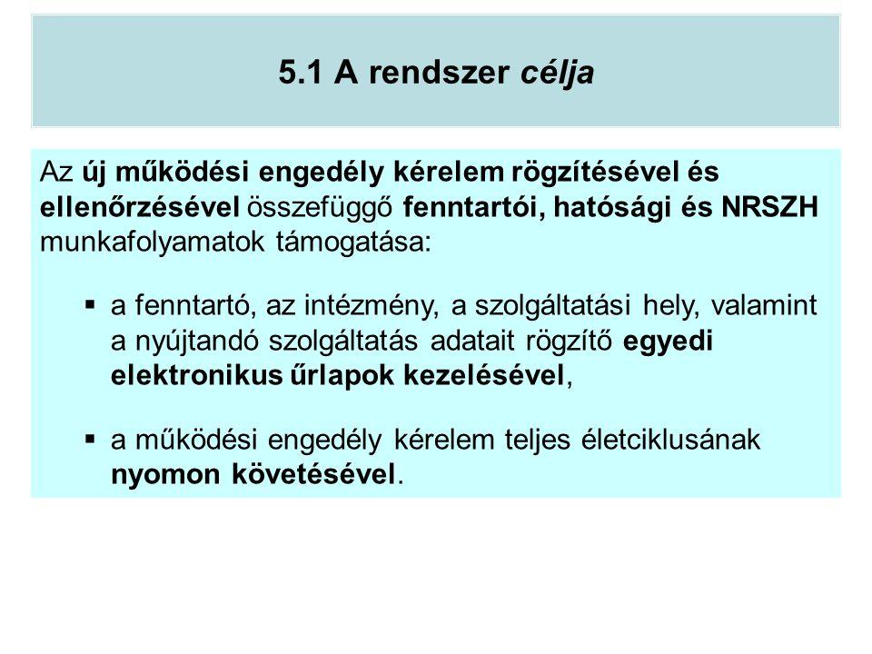 5.1 A rendszer célja Az új működési engedély kérelem rögzítésével és ellenőrzésével összefüggő fenntartói, hatósági és NRSZH munkafolyamatok támogatás