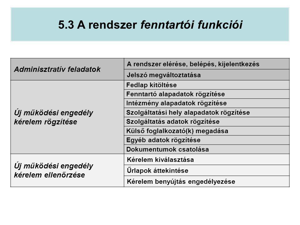 5.3 A rendszer fenntartói funkciói Adminisztratív feladatok A rendszer elérése, belépés, kijelentkezés Jelszó megváltoztatása Új működési engedély kér