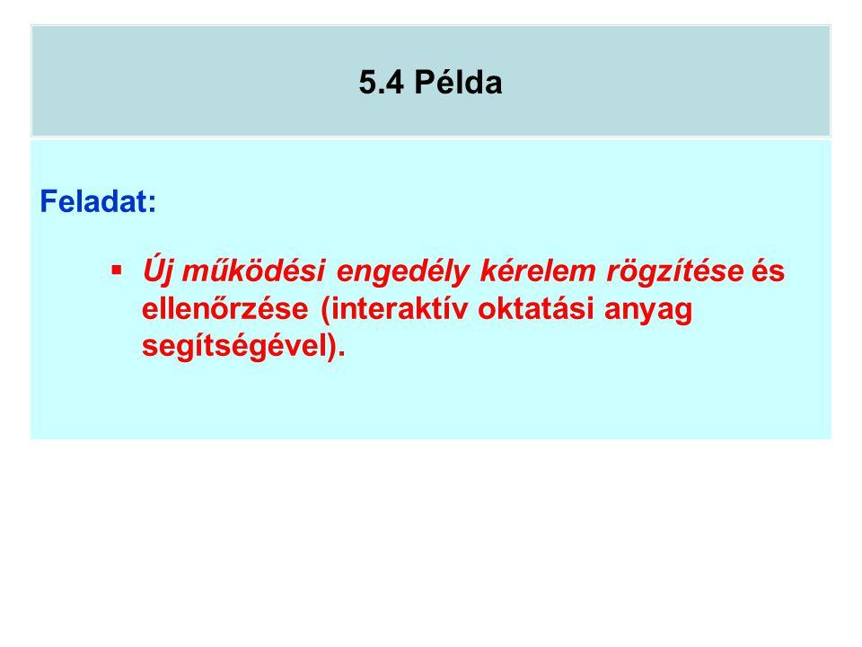 5.4 Példa Feladat:  Új működési engedély kérelem rögzítése és ellenőrzése (interaktív oktatási anyag segítségével).