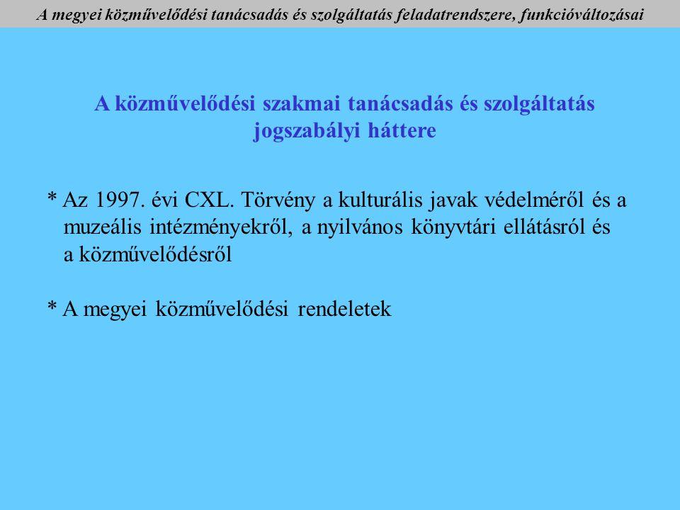 A közművelődési szakmai tanácsadás és szolgáltatás jogszabályi háttere * Az 1997.