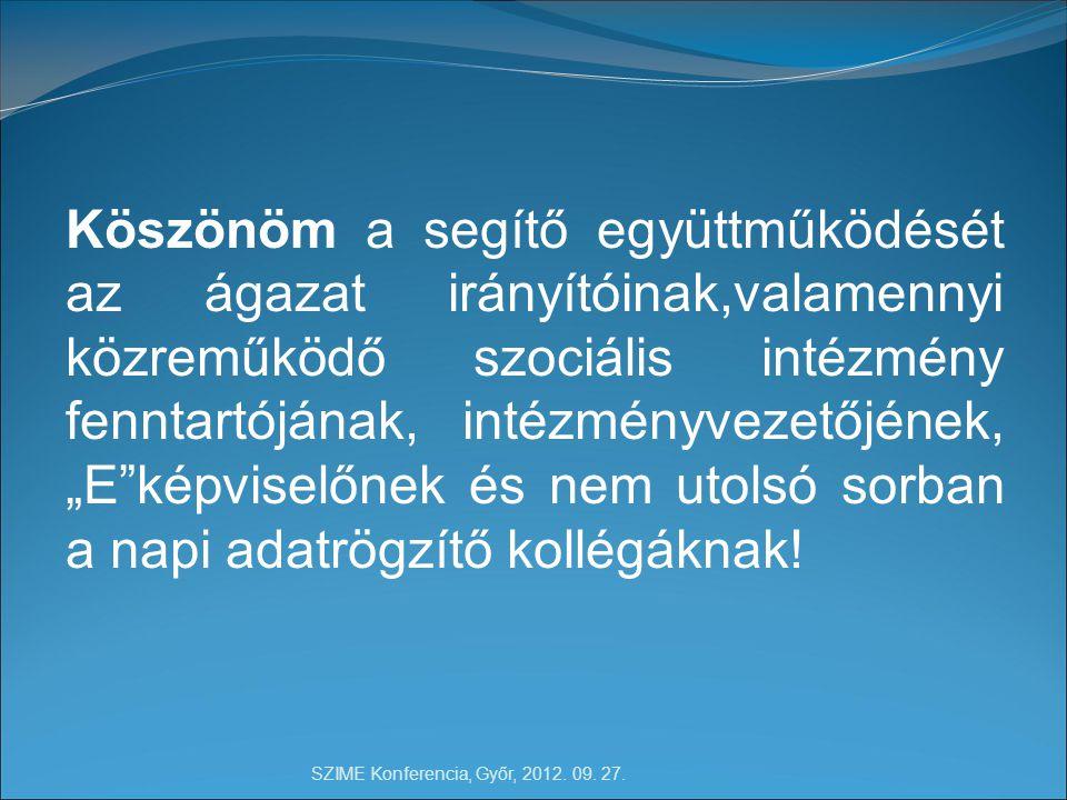 SZIME Konferencia, Győr, 2012.09. 27. 23 Köszönöm a figyelmet.