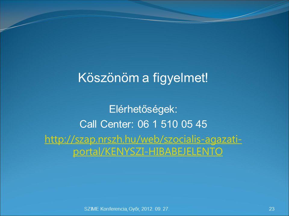 SZIME Konferencia, Győr, 2012. 09. 27. 23 Köszönöm a figyelmet.