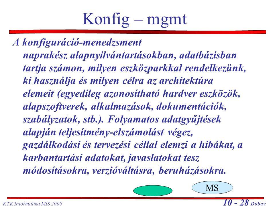 KTK Informatika MIS 2008 10 - 28 Dobay Konfig – mgmt A konfiguráció-menedzsment naprakész alapnyilvántartásokban, adatbázisban tartja számon, milyen e